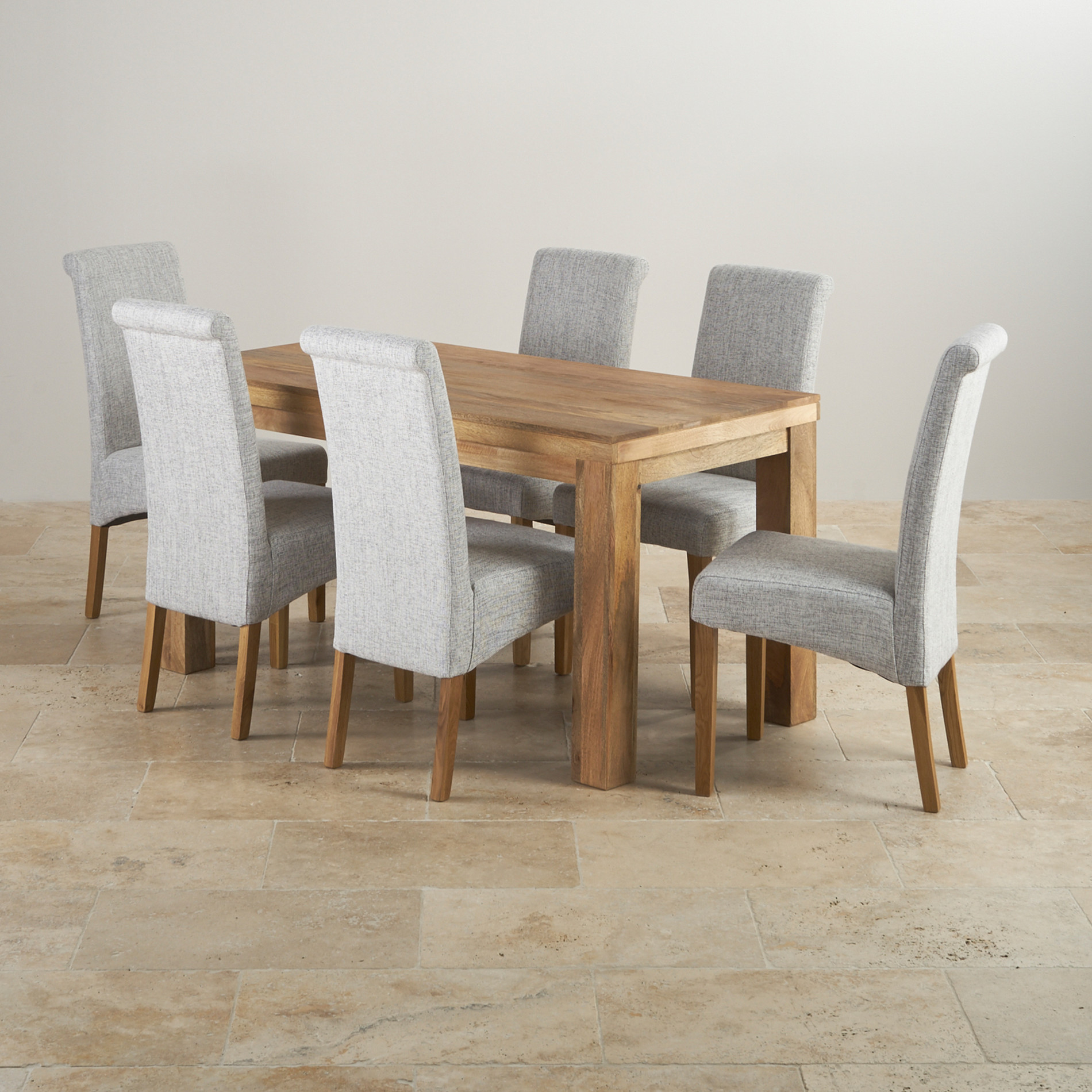 Mantis light mango dining set 5ft table with 6 chairs - Grey fabric dining room chairs designs ...