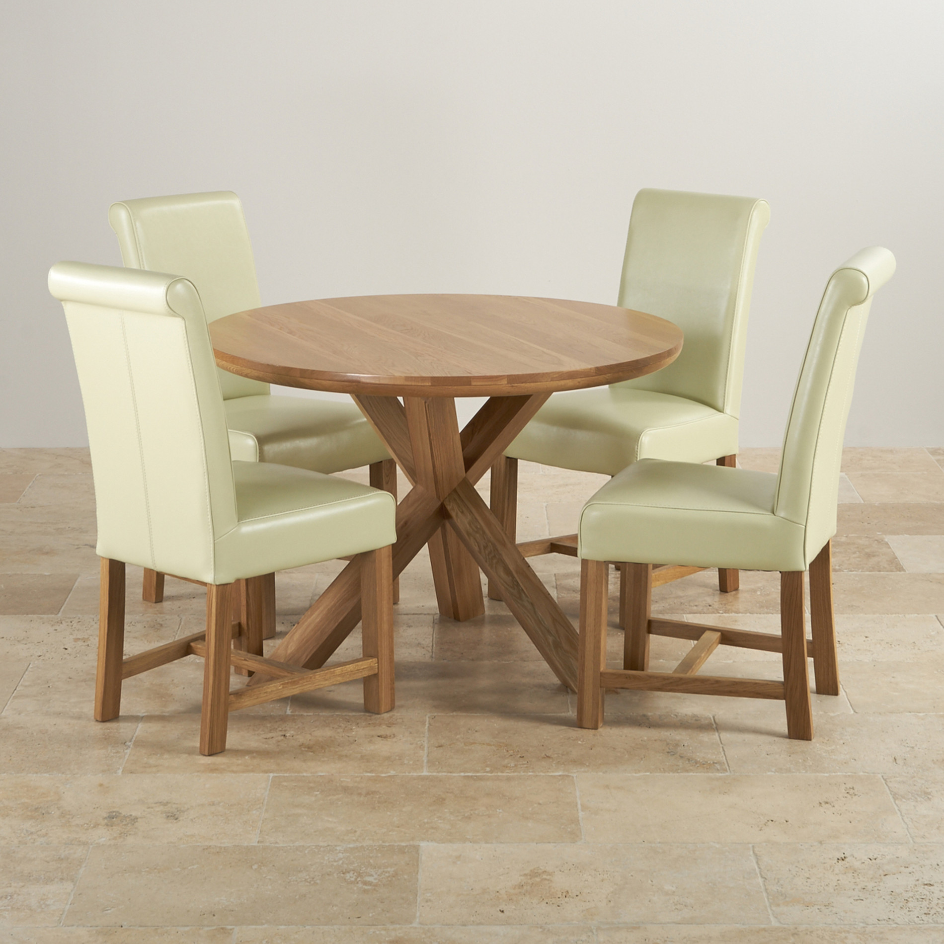 Natural Solid Oak 3ft 7 Dining Table With 4 Cream Chairs