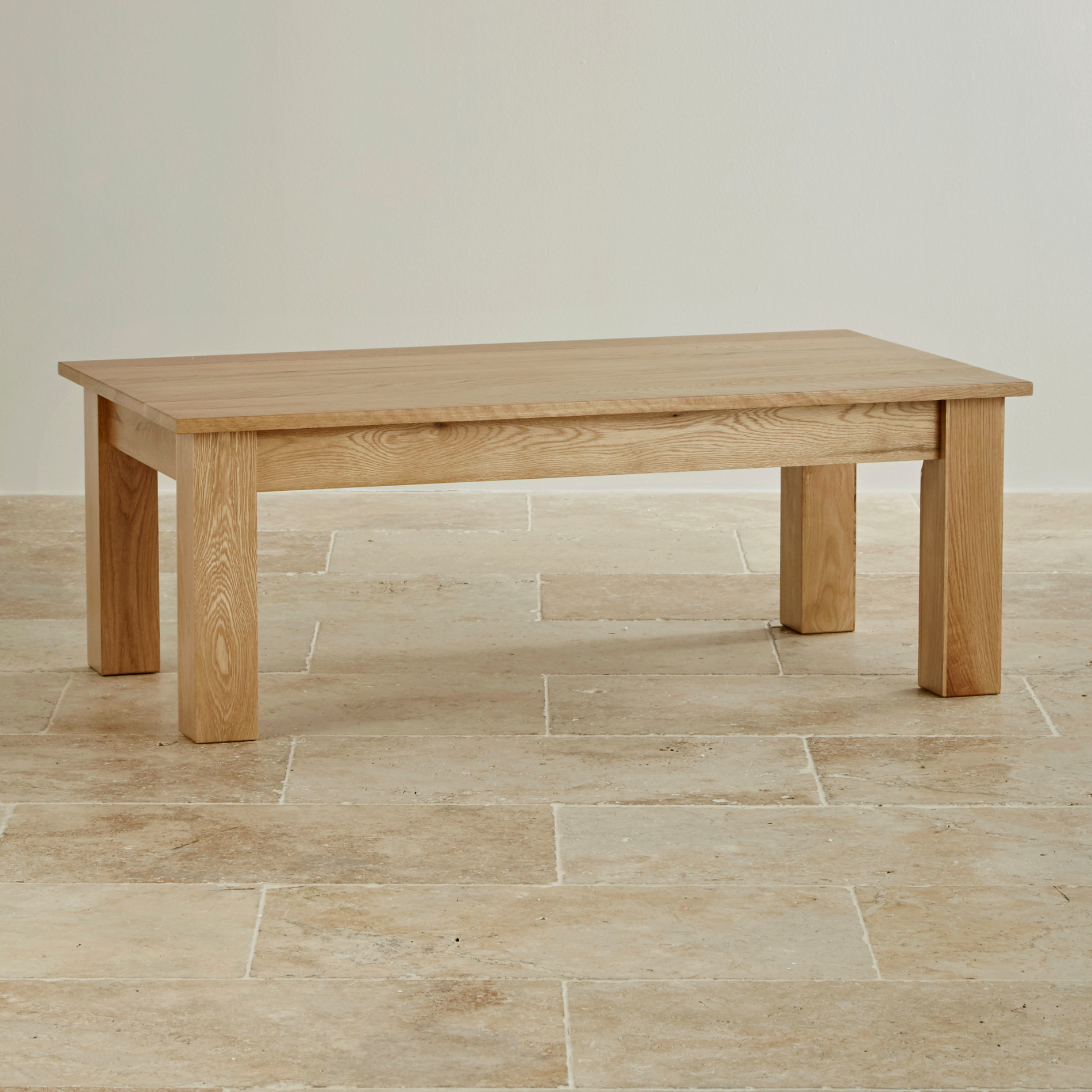 Natural solid oak minimalist coffee table by oak furniture for Oak furniture land