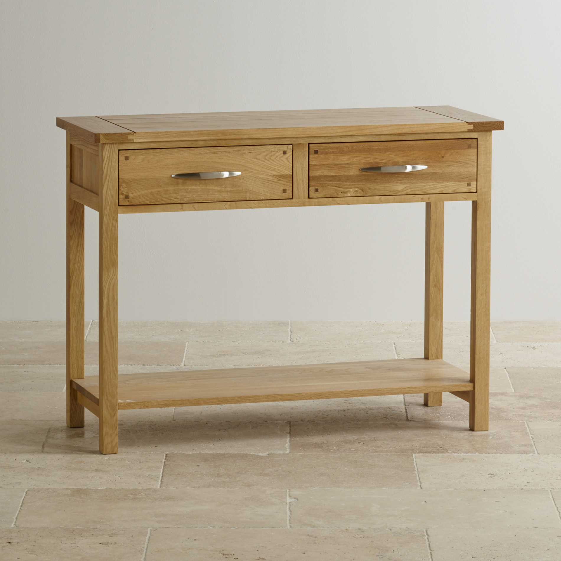Newark Natural Solid Oak Console Table. Full resolution‎  image, nominally Width 1900 Height 1900 pixels, image with #493017.