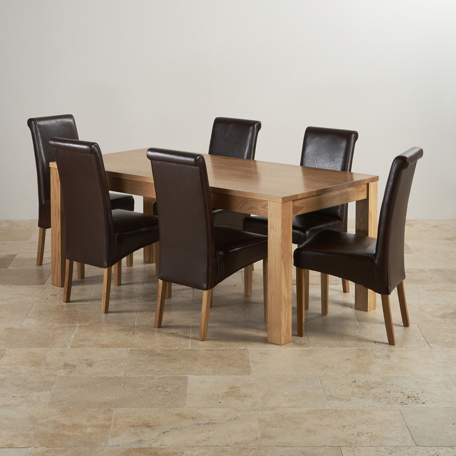 Oakdale natural solid oak 6ft dining table 6 brown leather for 6 x dining room chairs