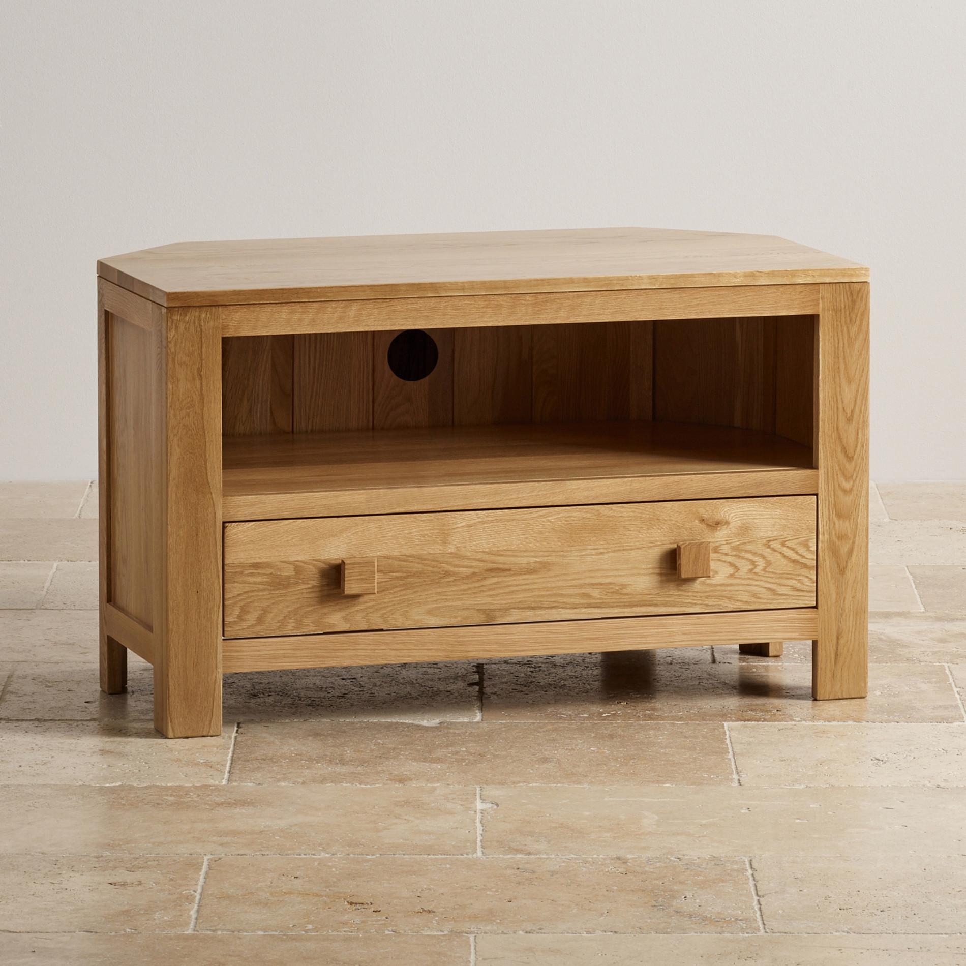 Natural Solid Oak Corner Tv Cabinet