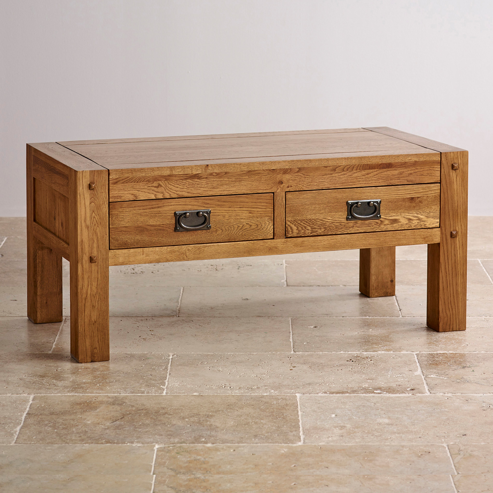 Quercus rustic solid oak coffee table with 4 drawer storage for Solid oak furniture