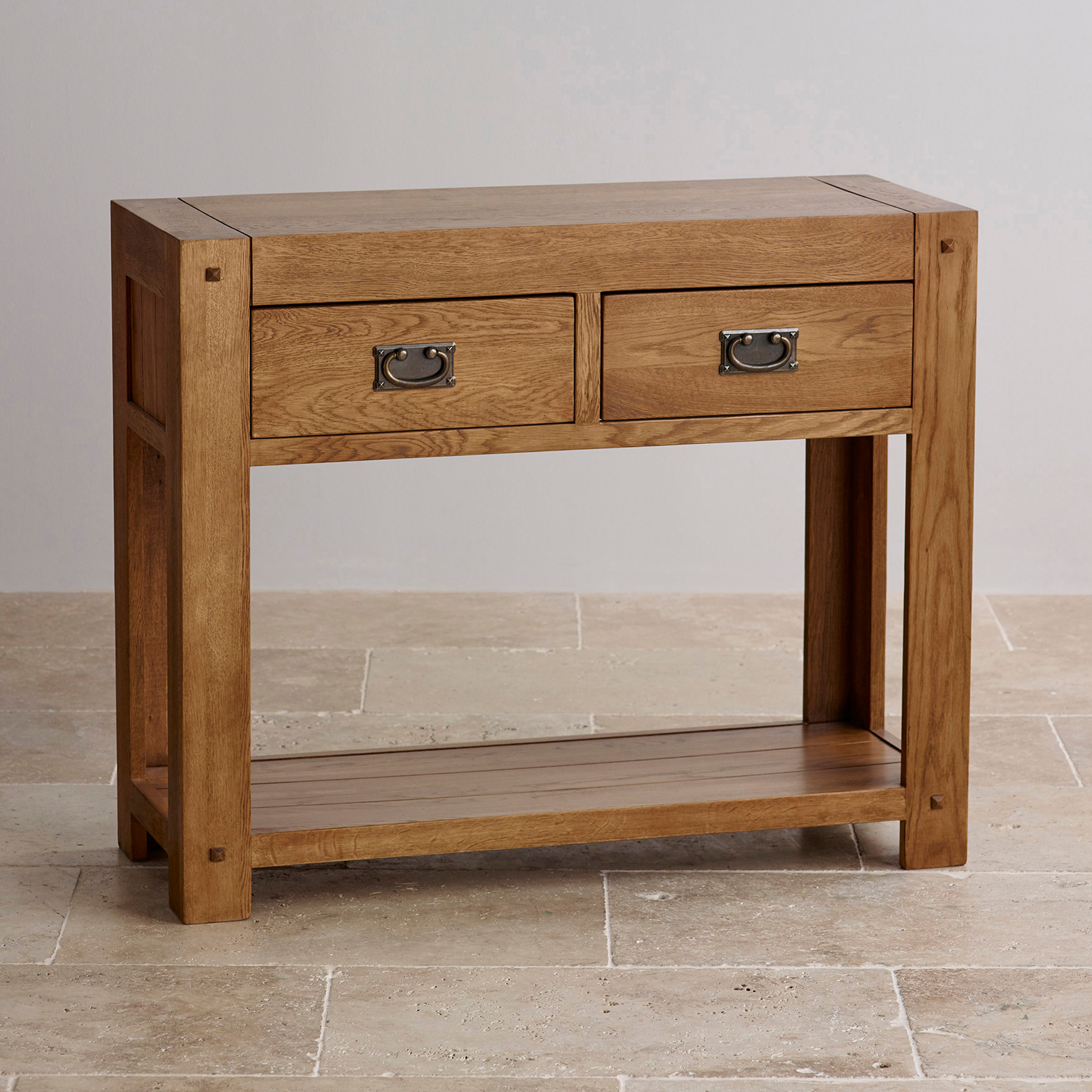 Quercus rustic solid oak console table by oak furniture land for Solid oak furniture