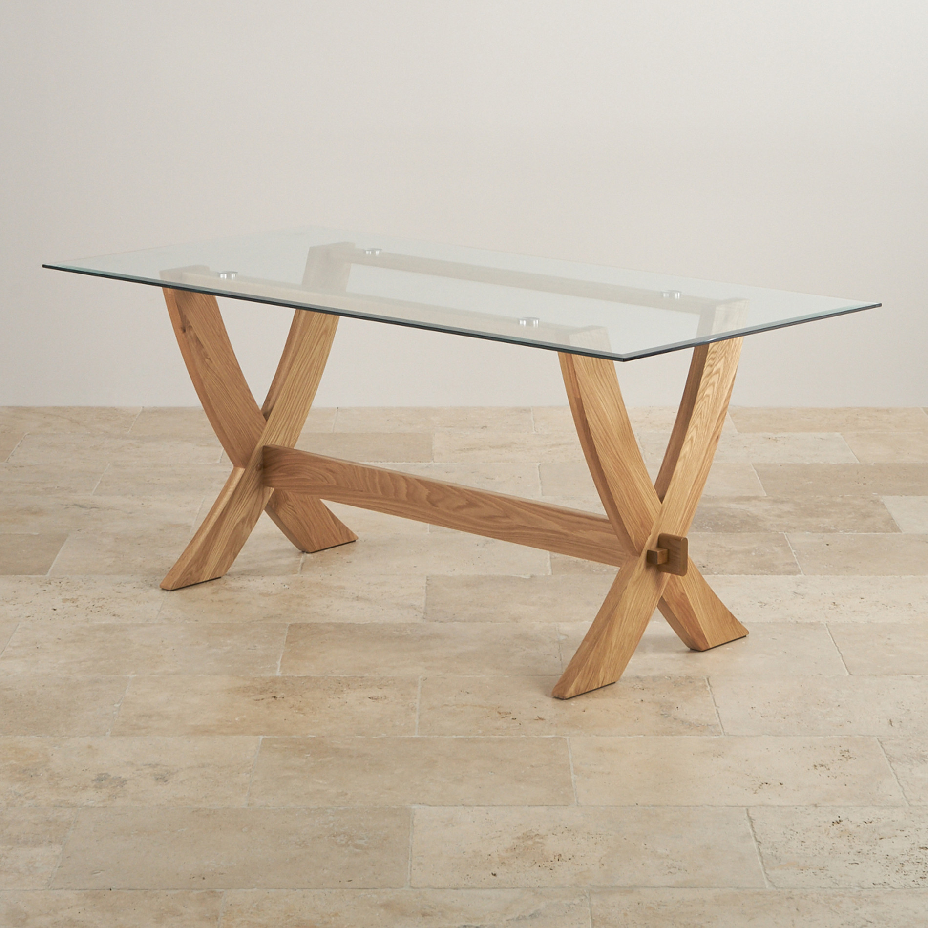 Reflection 6ft x 3ft glass top and natural solid oak crossed leg dining table - Crossed leg dining table ...