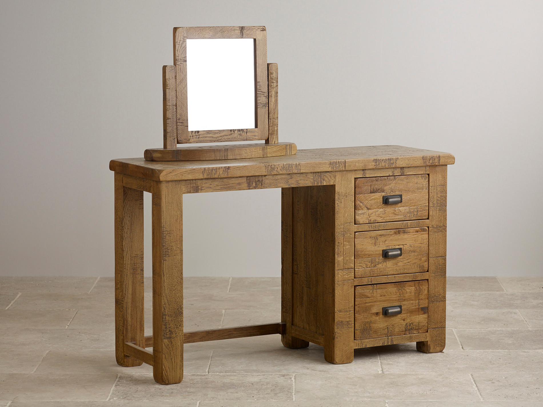 Rich Caramel Finish Classic Bedroom Set W Options: Ripley Rough Sawn Solid Oak Dressing Table And Mirror Set