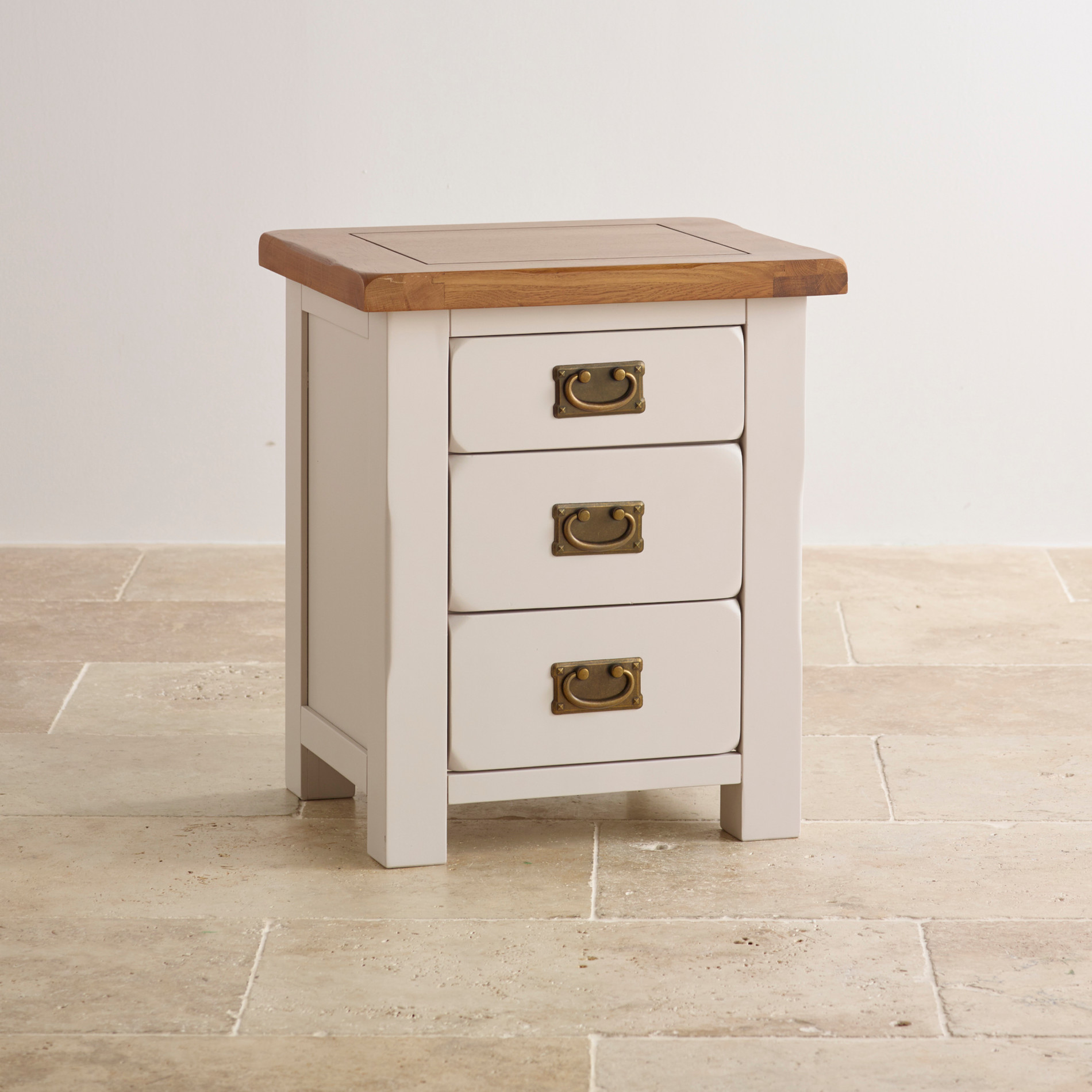 Kemble Rustic Painted Solid Oak 3 Drawer Bedside Table