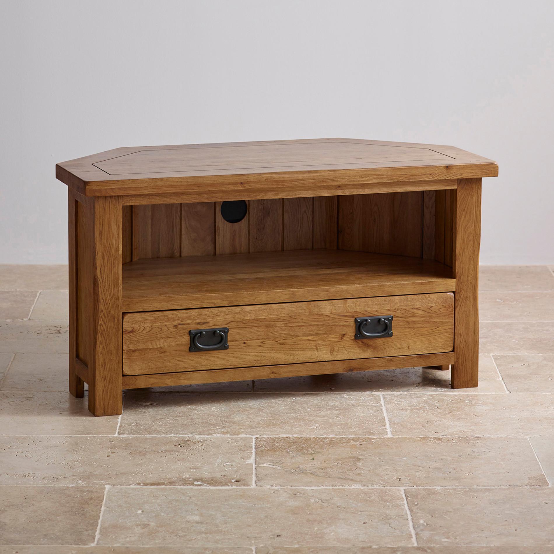 Original Rustic Solid Oak Corner Tv Dvd Cabinet