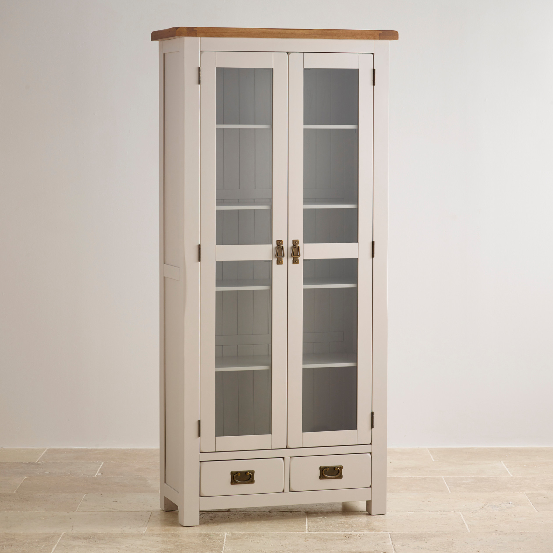 Kemble Painted Rustic Solid Oak Glazed Display Cabinet
