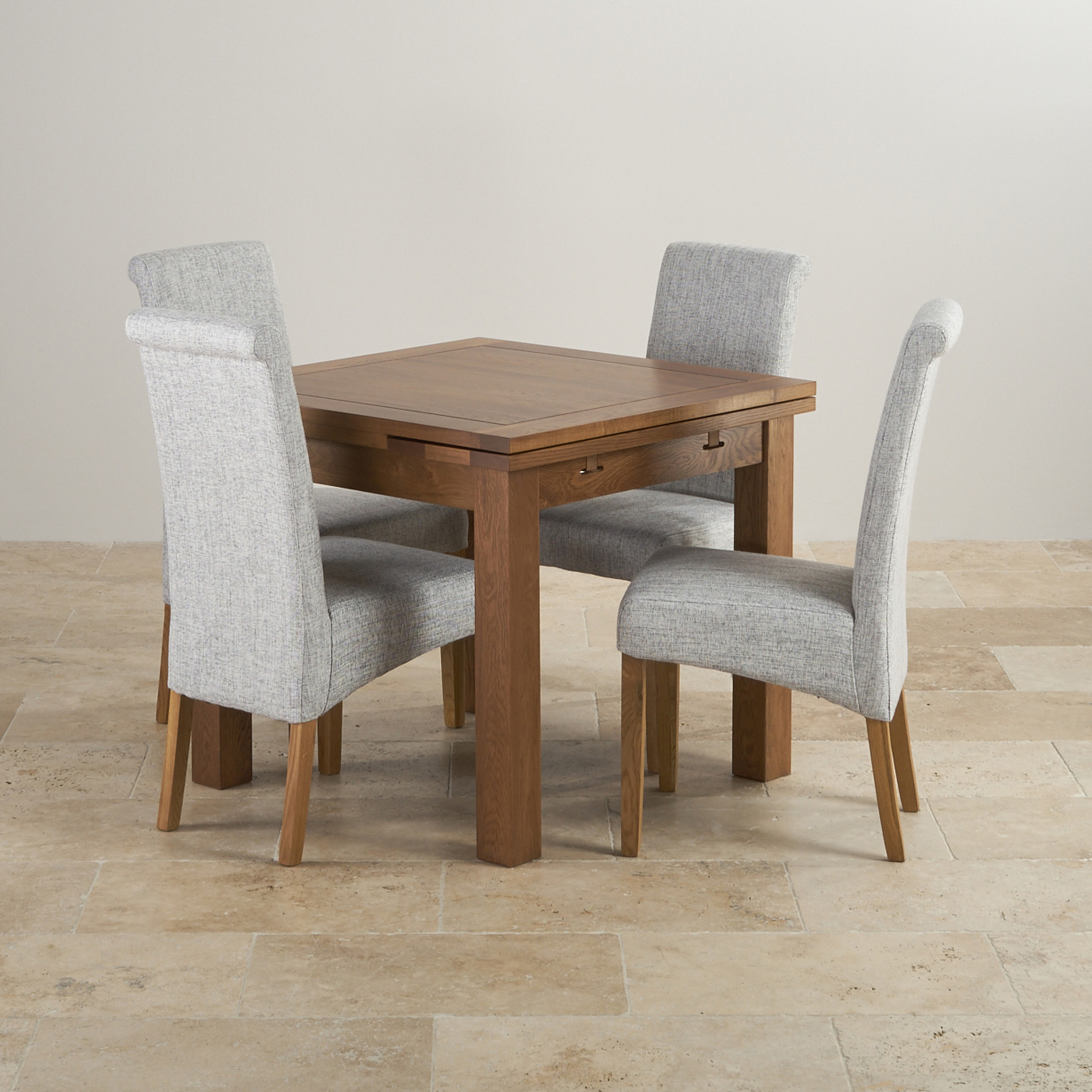 Extendable Dining Set In Rustic Brushed Solid Oak: Rustic Solid Oak 3ft Dining Table With 4 Grey Fabric Chairs