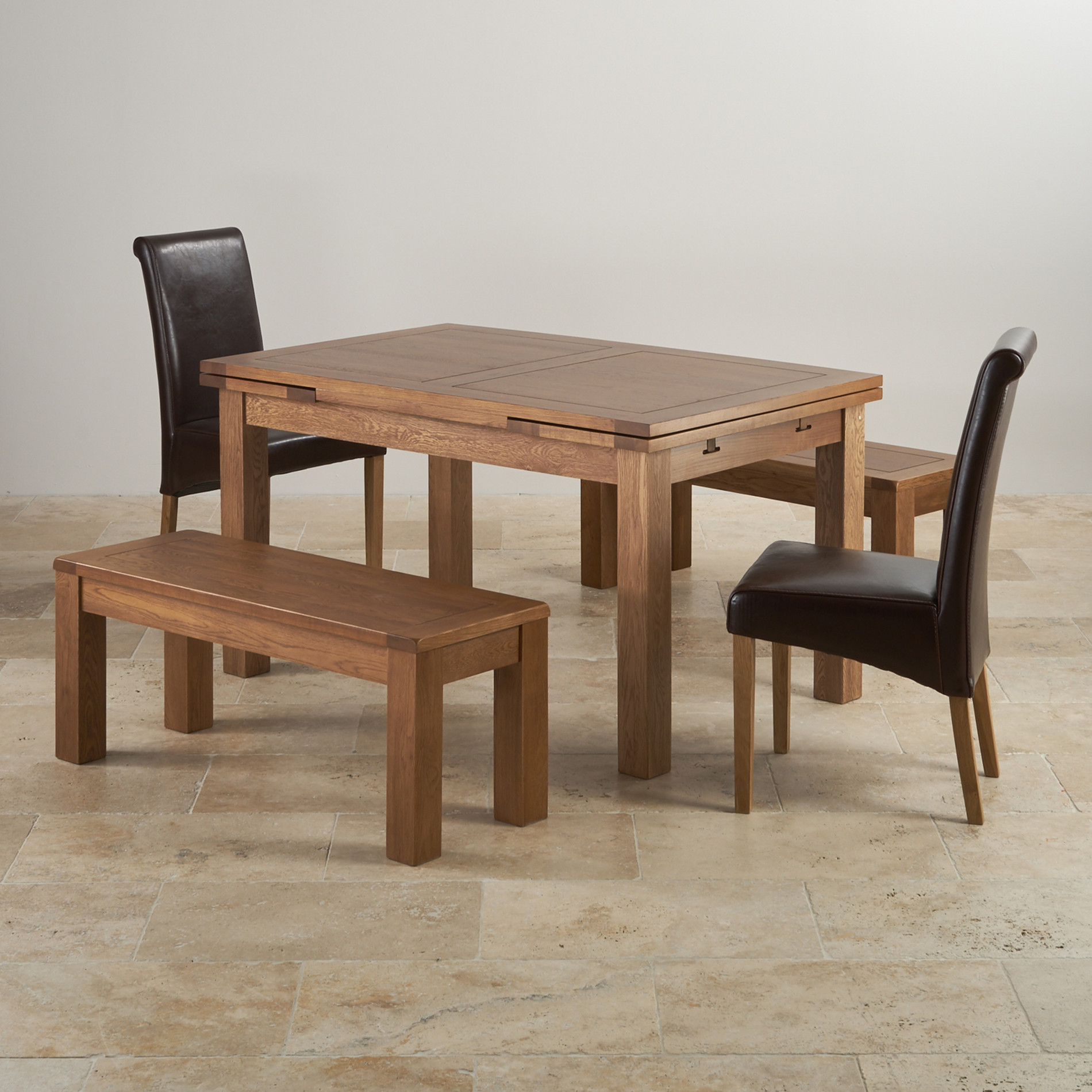 Oak Dining Set 4ft 7 Extending Table With 2 Benches And 2 Chairs. Full resolution  img, nominally Width 1900 Height 1900 pixels, img with #67472F.