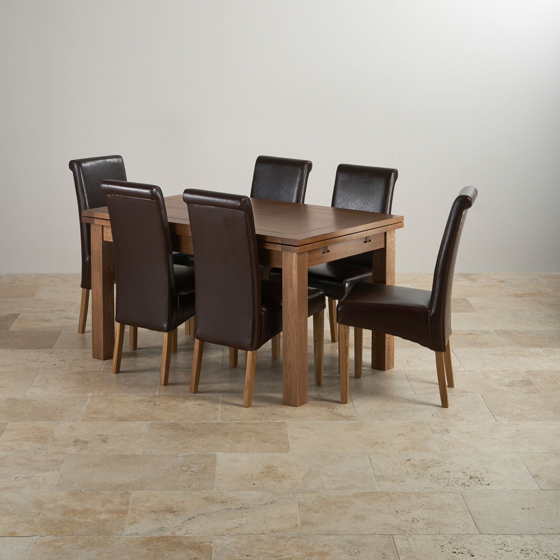 Rustic oak dining set 4ft 7 extending table with 6 brown for 4ft sofa table
