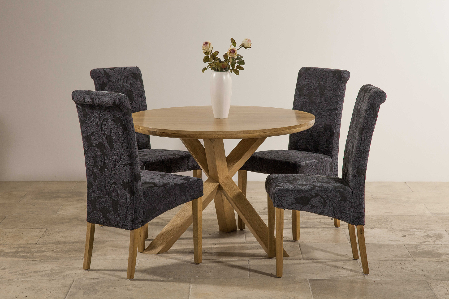 Amazing photo of Solid Oak Round Table with Crossed Legs   4 Scroll Back Dining Chair  with #8C6A3F color and 1900x1267 pixels