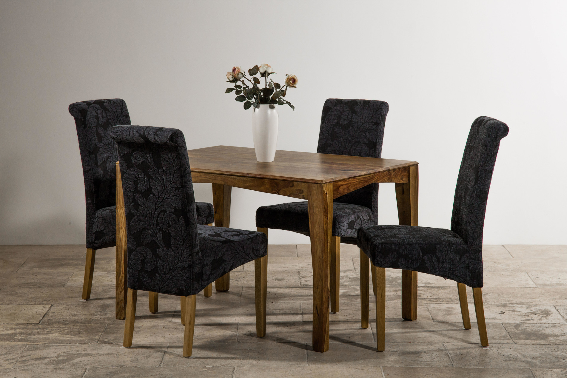 Navy Blue Dining Table: Tali Solid Rosewood 4ft Dining Table + 4 Scroll Back