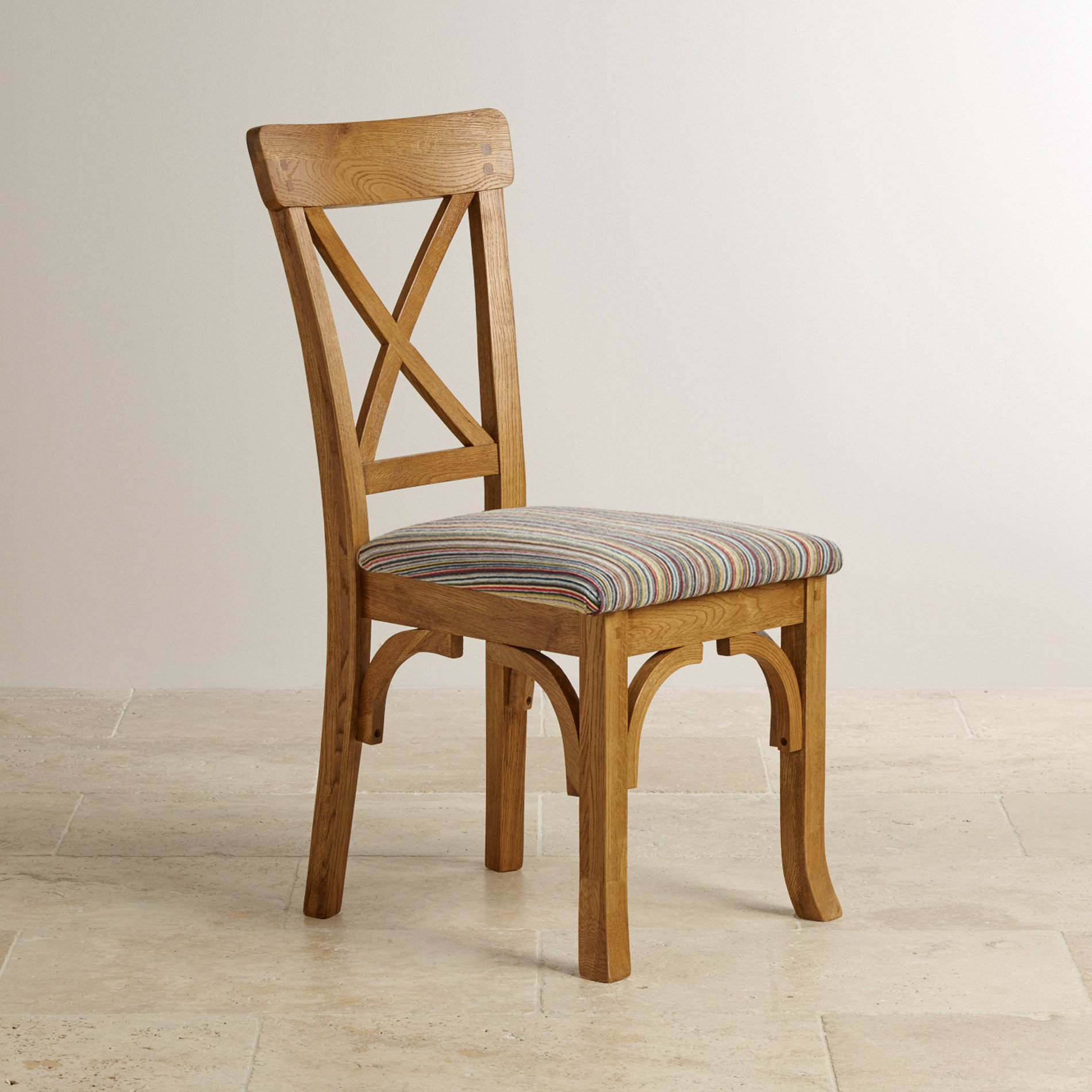 Taunton rustic brushed solid oak and multi striped for Multi coloured fabric dining chairs