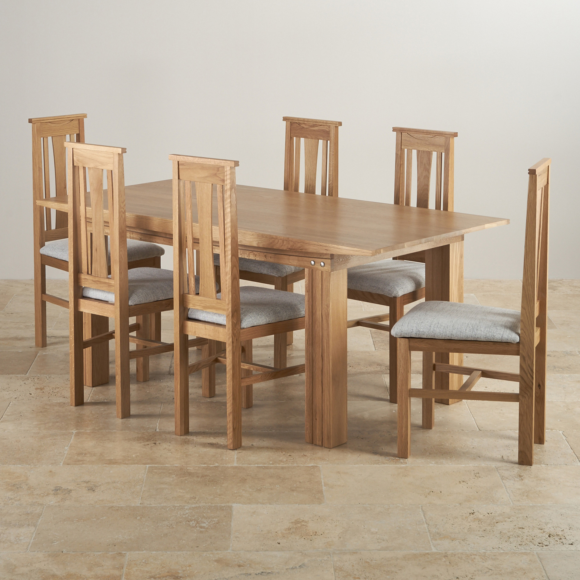 6ft Table With 6 Chairs: Tokyo Natural Solid Oak Dining Set
