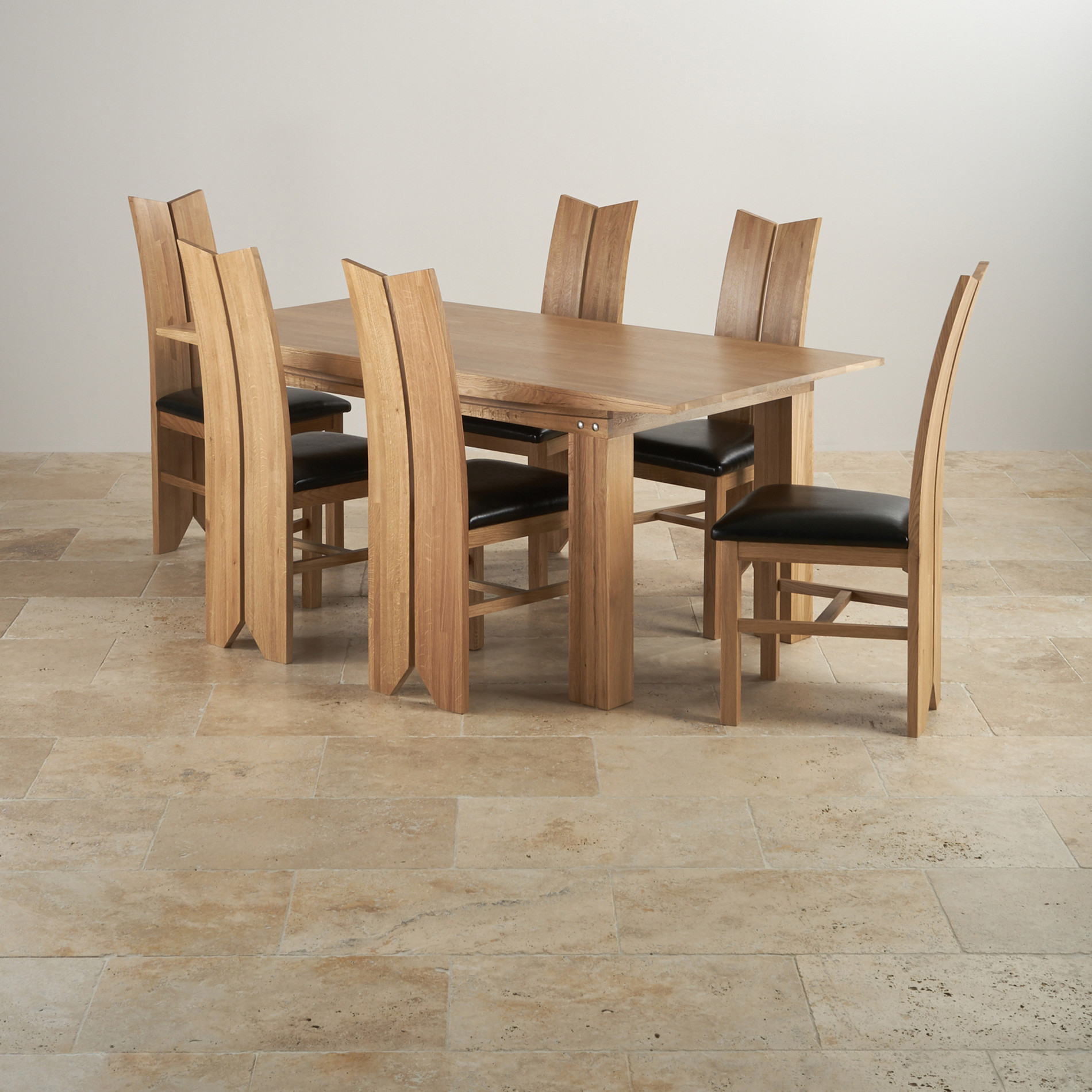 Tokyo Natural Solid Oak Dining Set 6ft Table With 6 Chairs. Full resolution  image, nominally Width 1900 Height 1900 pixels, image with #896342.