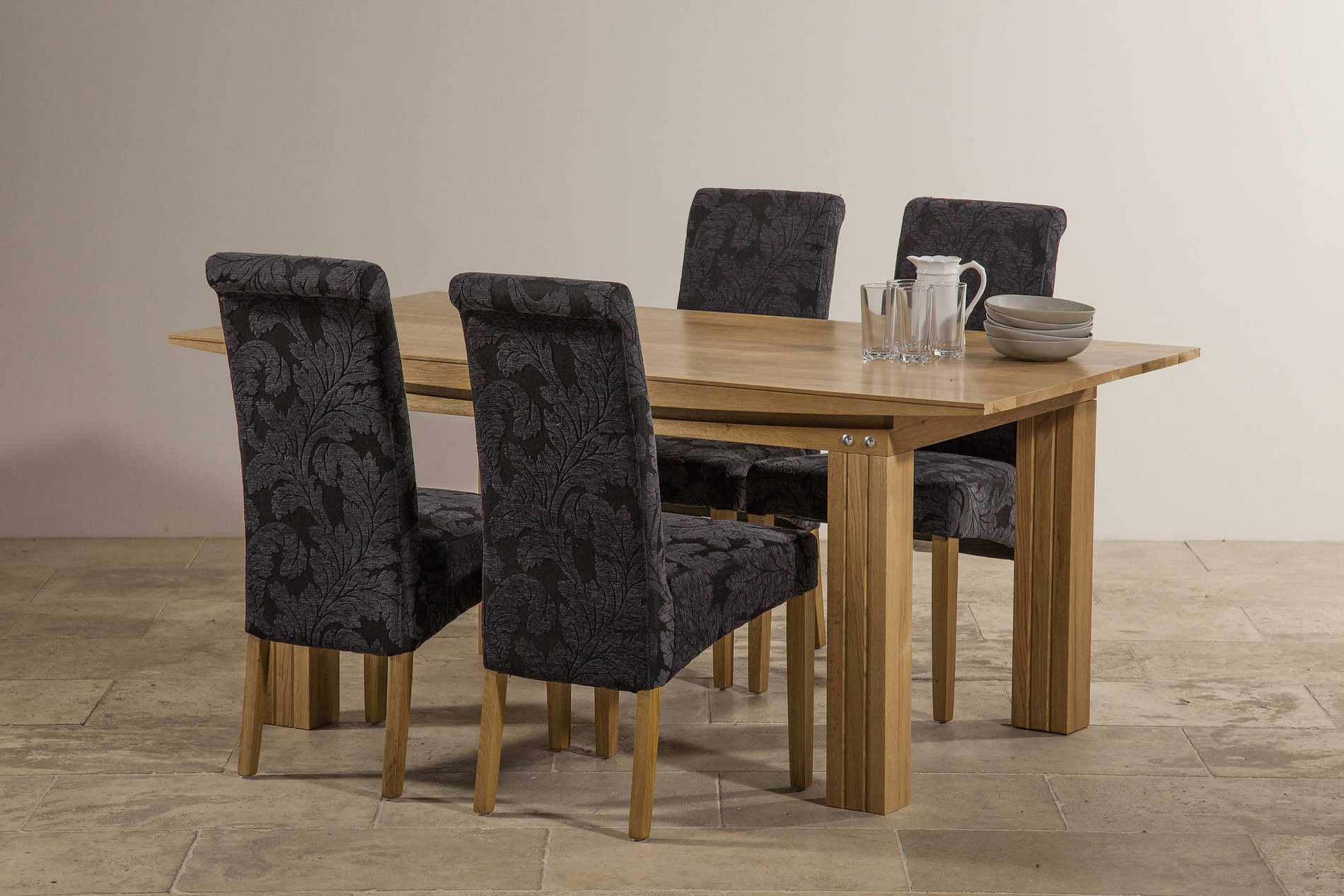 Tokyo Solid Oak 6ft X 3ft Dining Table + 4 Scroll Back