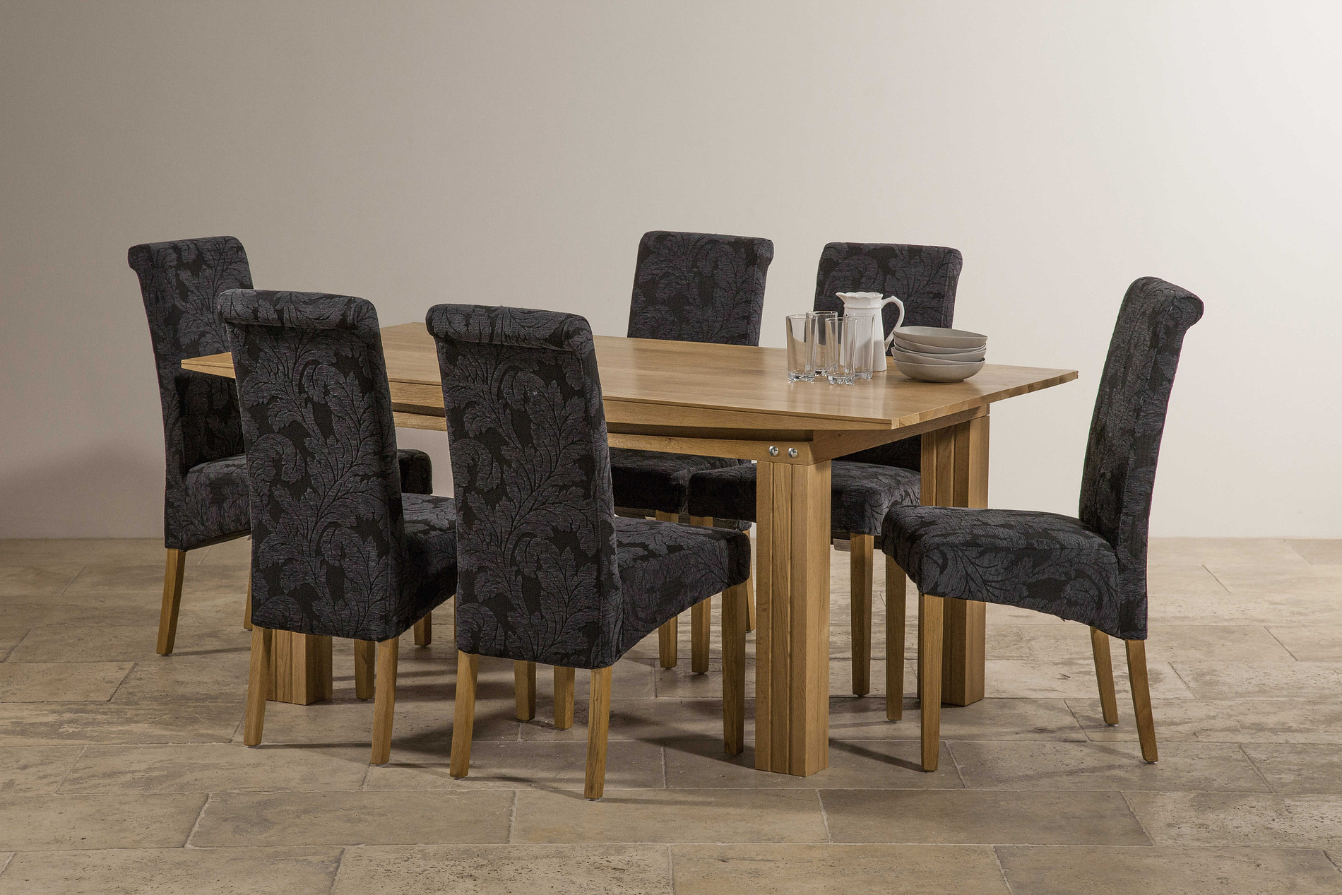 Tokyo Solid Oak 6ft X 3ft Dining Table + 6 Scroll Back