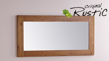 Original Rustic Solid Oak Frame Wall Mirror