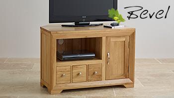 Bevel Natural Solid Oak Small Corner TV Cabinet