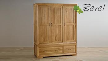 Bevel Natural Solid Oak Triple Wardrobe