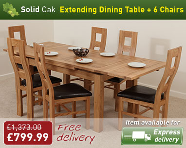 Dorset 4ft 7 Dining Table and 6 Wave Back Chairs