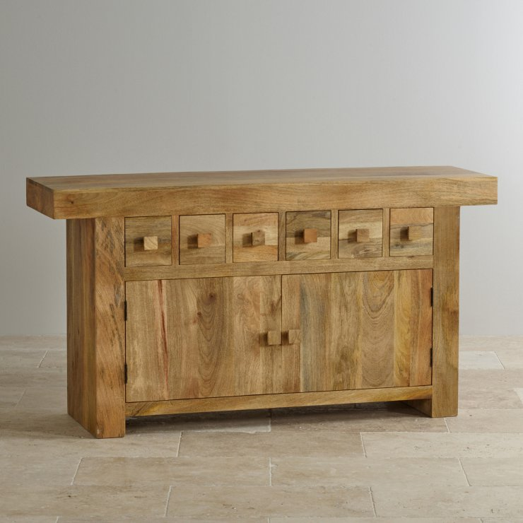Mantis Light Natural Solid Mango 6 Drawer Large Sideboard